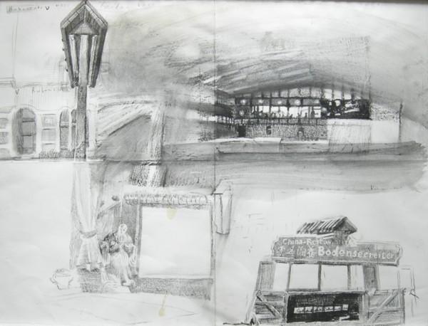 """Aus der Serie """"Reiter übern Bodensee"""", 2006, Lithokreide auf Leinwand"""