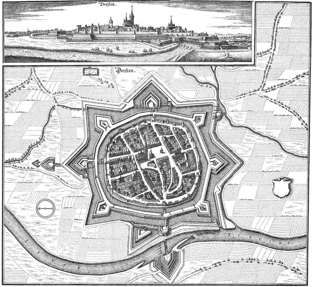 Festung Dorsten 1642, Kupferstich von Matthäus Merian