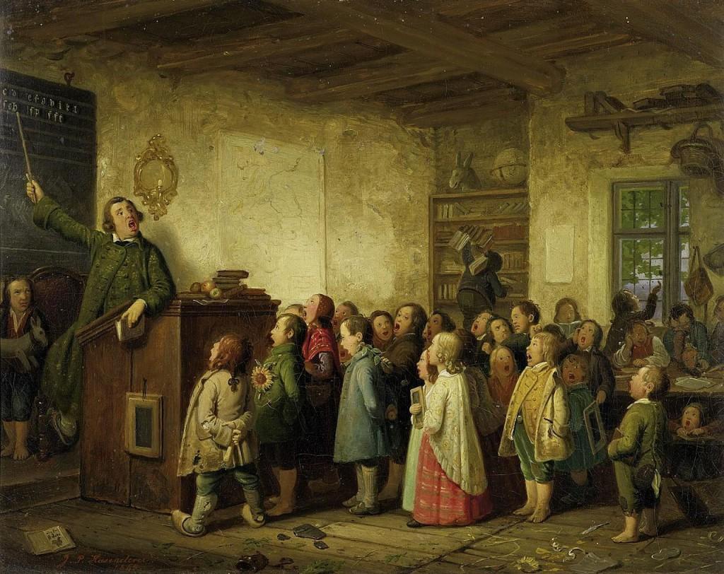"""""""Die Dorfschule"""", Gemälde von Peter Hasenclever, 19. Jahrhundert"""