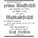 Inserat des Metzgers Ernst Perlstein