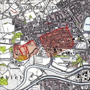 Die Karte zeigt das Ausmaß des Römerlagers unter Holsterhausen