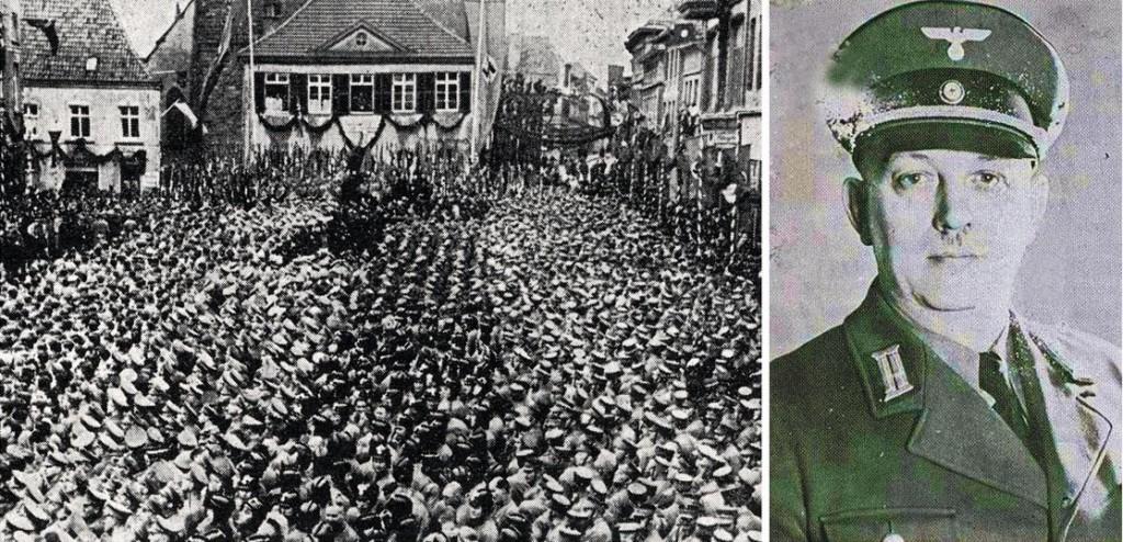 Rechts: NSDAP-Kreistag in Dorsten 1938; linbks: NSDAP-Beigeordneter Köster