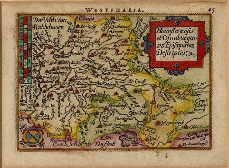 Karte Hochstift Münster, erstmals 1572 erschienen (hier Druck von 1600)