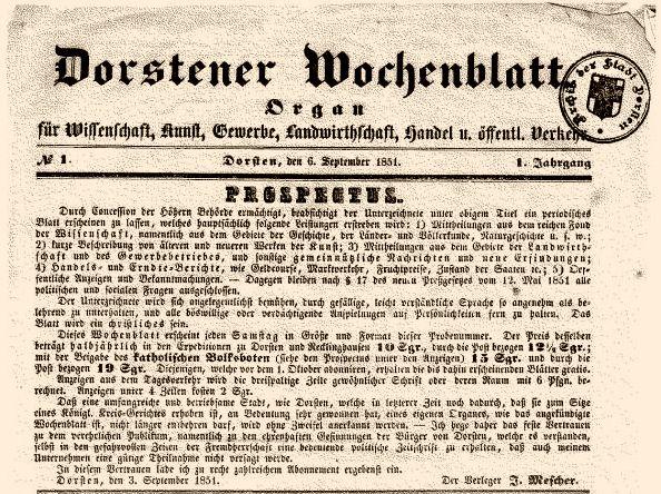 """Erste Ausgabe """"Dorstener Wochenblatt"""" 1851"""
