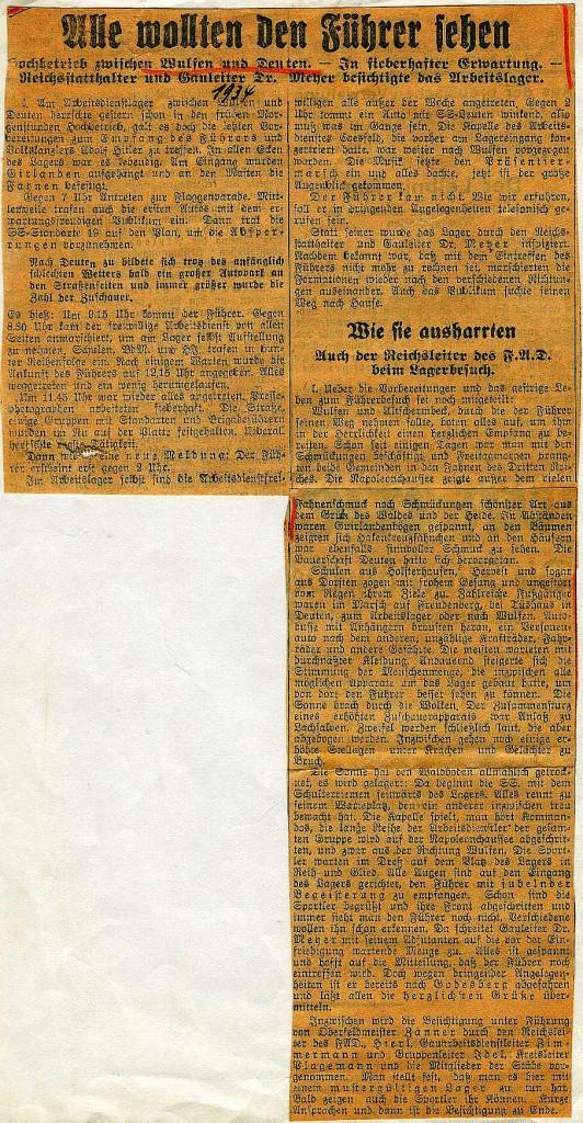 """Hitler wollte kommen, """"Dorstener Volkszeitung"""" vom Juni 1934"""