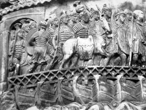 Römer auf einer Pontonbrücke