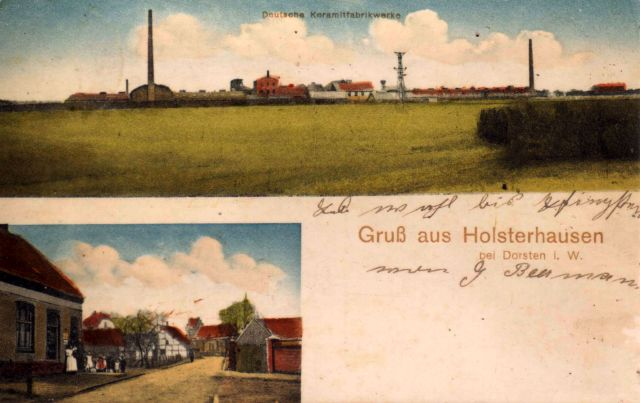 Postkarte aus Holsterhausen mit dem Keramitwerk 1912