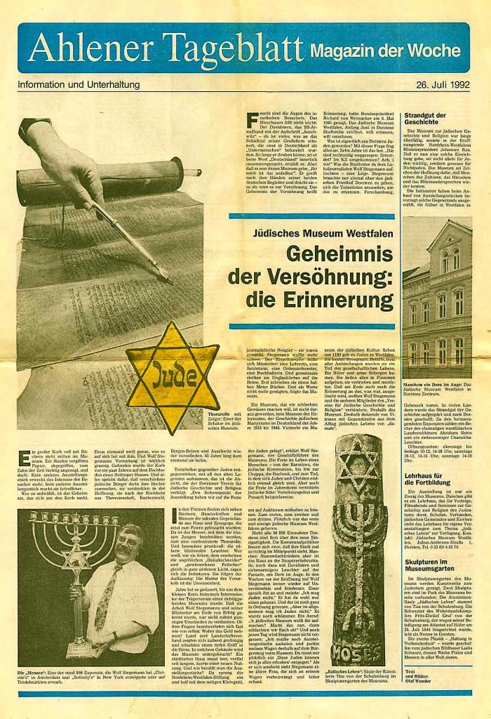 Ahlener Tageblatt vom 25. Juli 1992