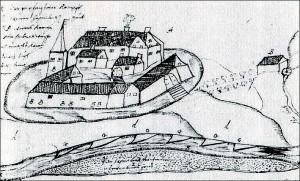 Zeitgenössische Zeichnung Burg Hagenbeck
