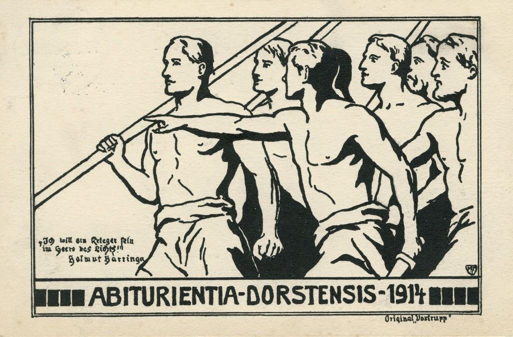 Abiturientia-Karte 1914 zur Verherrlichung des Kriegs