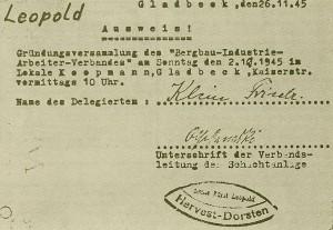 Wiedergründung der Bergbau-Gewerkschft in Hervst-Dorsten 1945