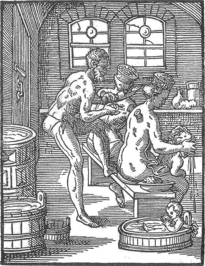 Bader behandelt Badegäste, Stich von Jost Amman 1568