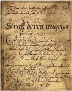 Strafordnung der Gilde bei Verstößen 1772