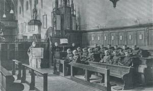 Gottesdienst in der später abgerissenen Kirche