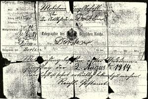 Telegramm der Mobilisierung 1914