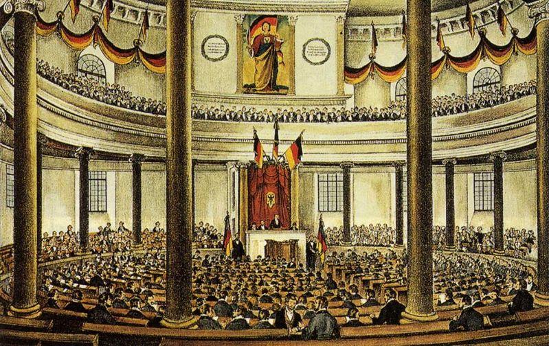 Nationalversammlung in der Paulskirche in Frankfurt 1848; Franz Evelt saß unter den Delegierten