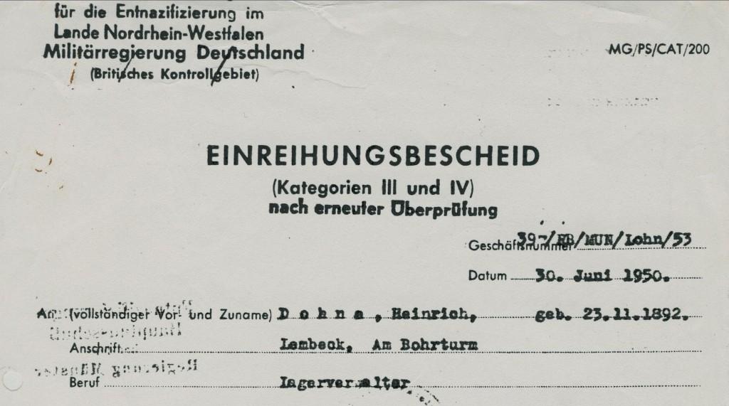 Ausriss aus dem Einreihungsbescheid Heinrich Dohnas von 1950