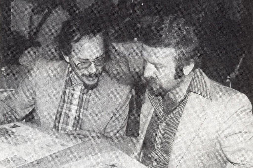 Künstlertreff-Teilnehmer Herbert Stöckle (Stadtbibliothek) und Ludger Heiming (Kulturamt)