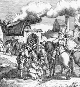 Soldaten nehmen ein Dorf ein