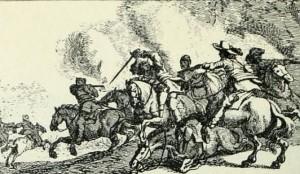 Reitergefecht, Kupferstich von J. Courtois, 17. Jh.