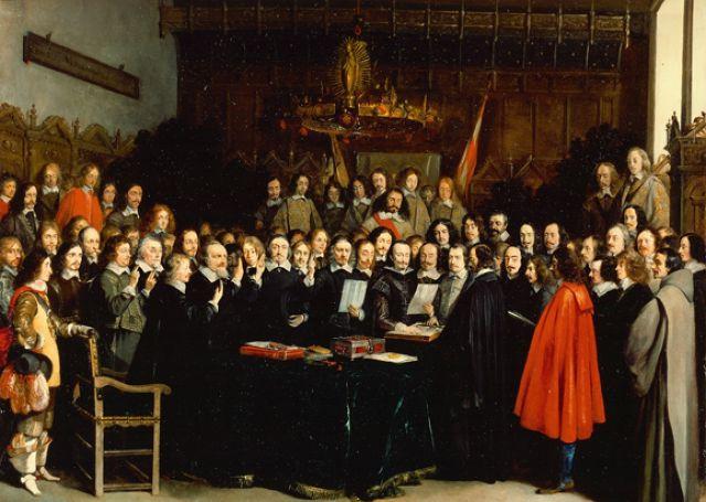 """Kongress der Kriegsbeteiligten im historischen Rathaus von Münster, der 1648 zum """"Westfälischen Frieden"""" führte"""