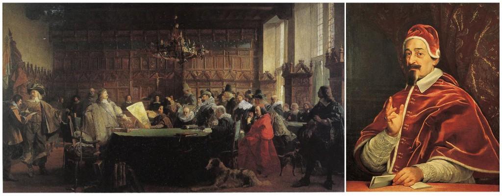 Kriegsparteien unterschreiben 1648 den Friedensvertrag; rechts Fabio Chigi als Papst Alexander VII.