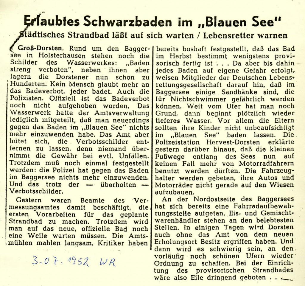 Westfälische Rundschau vom 3. Juli 1952