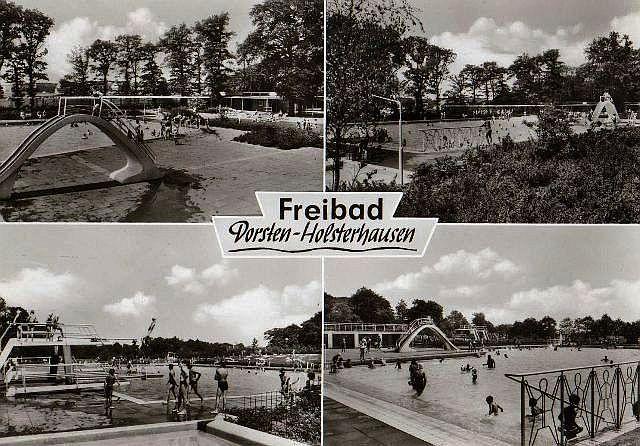 Postkarten-Darstellung des Freibads in Holsterhausen