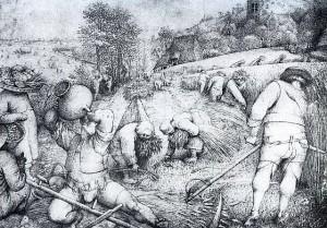 Bauernleben (Zeichnung von Pieter Brueghel 1568)