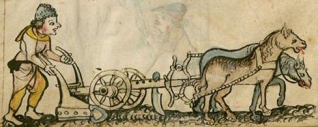 Bauer hinterm Radpflug, 15. Jahrhundert