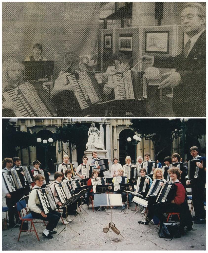 Oben: Ministerpräsident Rau 1983 als Dirigent; unten: Konzert in Valetta (Malta) 1987; Foto: Wolf Stegemann