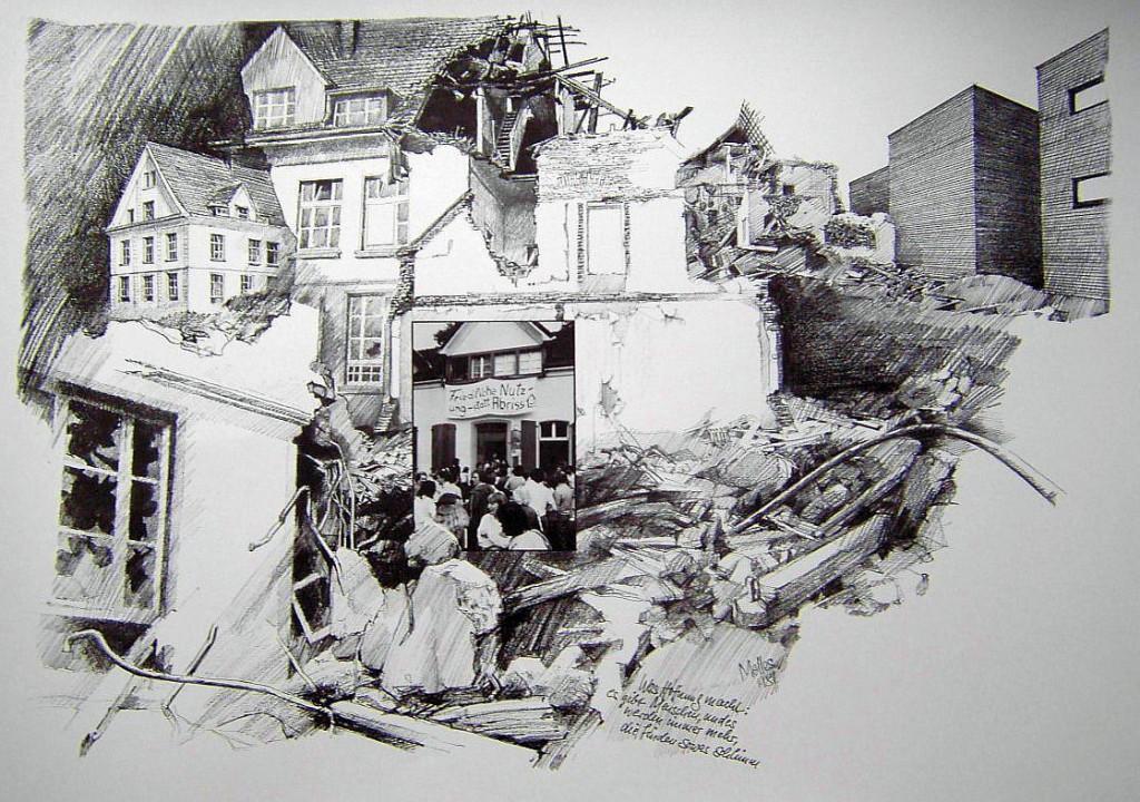 Zeichnung über den Abriss von ....Melles 1981