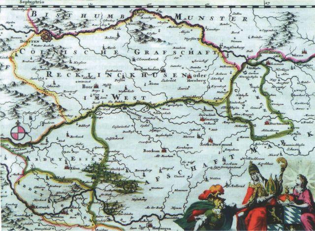 Cöllnische Grafschaft Recklinghausen im Vest um 1650 (Ausschnitt)