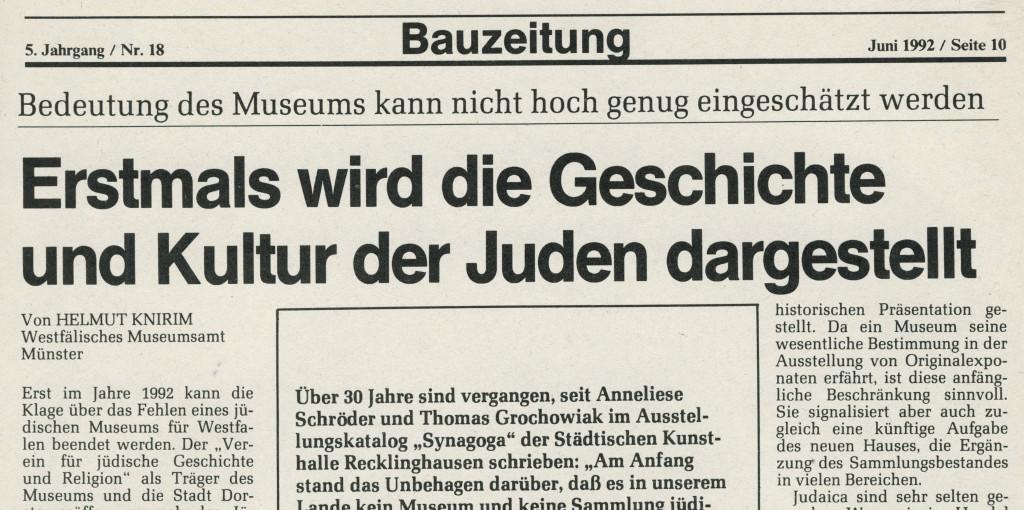 """Ausriss aus der """"Bauzeitung"""" zur Eröffnung des Museums"""