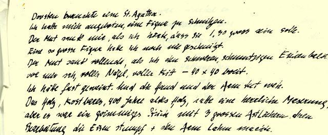 Faksimile des Berichts von S. Paula an Pfarrer Westhoff (Ausriss)