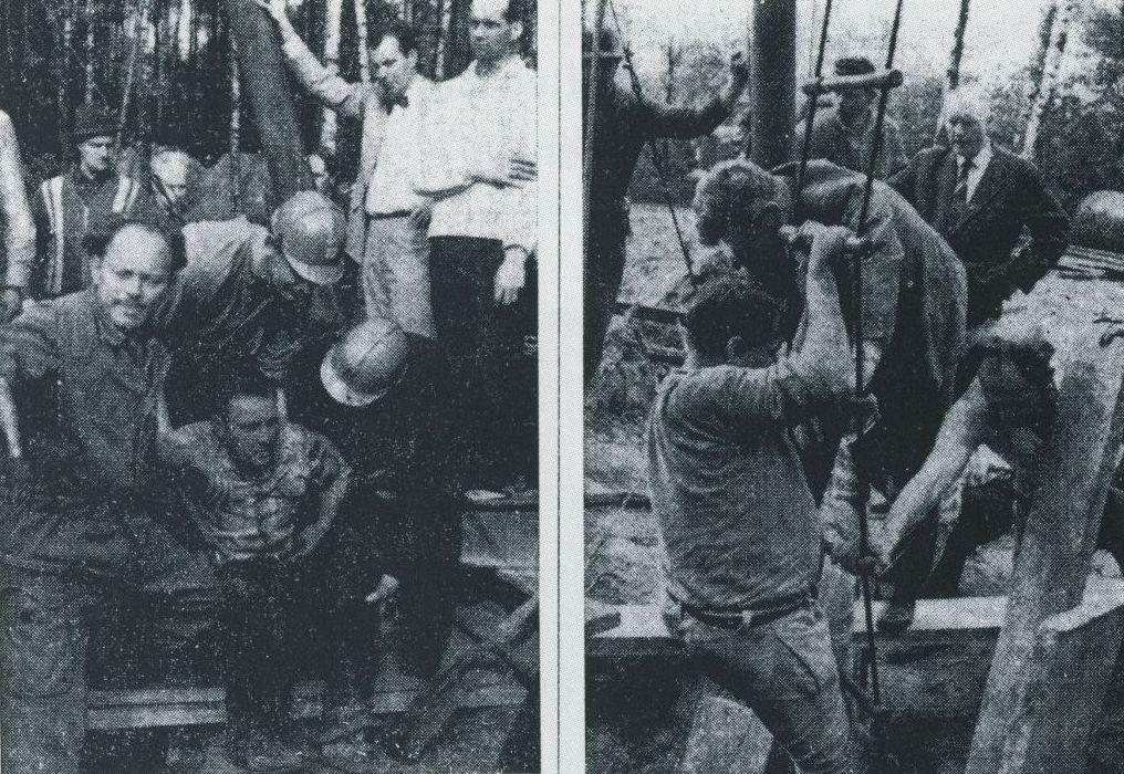 LInks: Fahrsteiger Schiller (Mitte), rechts: Kolecker, dahinter Hofer