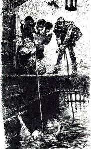 Wasserprobe im Burggraben, Zeichnung von 1878