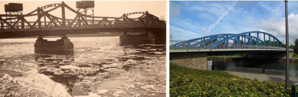 Die Kanalbrücke in einem Kriegswinter mit Funkleitstellen, daneben die Brücke heute