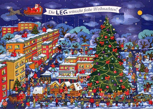 Seit einigen Jahren verteilt die LEG an alle Mieter in ganz NRW einen Schokoladen-Adventskalender. 2014 nahm die Künstlerin Natascha Schwarz den Barkenberger Bereich