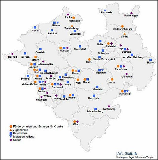 Standorte der LWL-Einrichtungen in Westfalen