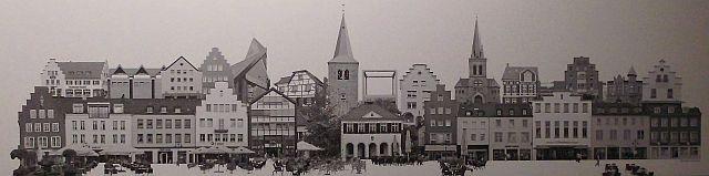 Aufgeklappte Stadtmitte, ein künstlerisch verzeichnetes Foto von Peter Koerber