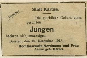 Geburtsanzeige seines Sohnes Theodor 1918