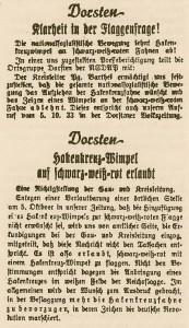 """""""Flaggenstreit"""" zwischen NSDAP und Zeitung; 8. bzw. 10. Oktober 1933 in der DV"""