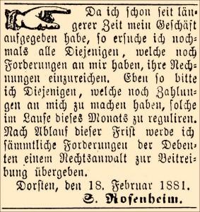 Inserat in der Dorstener Volkszeitung 1881