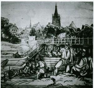Darstellung des Schiffbauerhandwerks in Dorsten (Bild hing im Heimatmuseum)