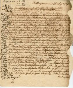 Brief des Sohnes ...... wegen seines Vaters Carl August Schürholz 1837