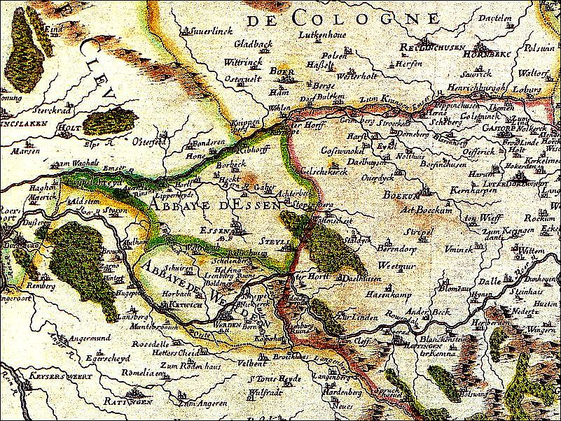 Karte von Werden und Umgebung 1681