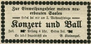 Inserat vom 23. Dezember 1909