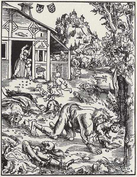 Der Werwolf verschleppt ein Kind, Holzschnitt von Lucas Cranach, 1512