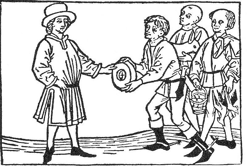 Steuern in Form von Brot und Geflügel, Holzschnitt 16. Jahrhundert